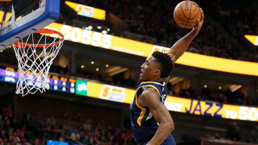 Donovan Mitchell going for a dunk