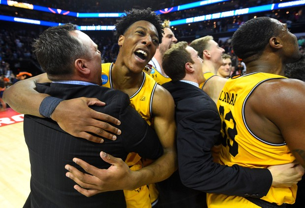 University of Baltimore County celebrates after stunning upset of one-seed Virginia