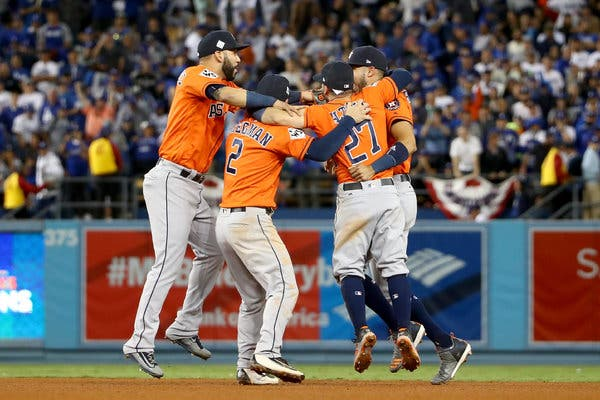 The Houston Astro infield celebrating after winning 2017 World Series.